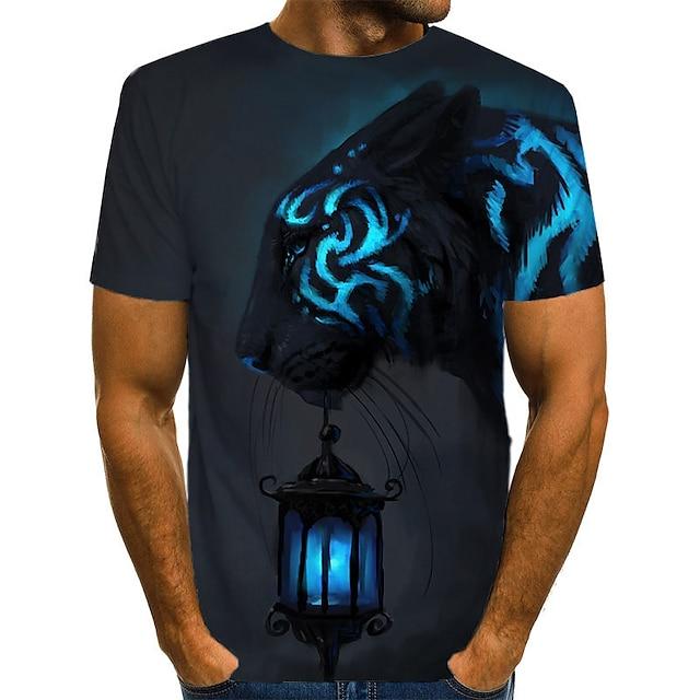 남성용 T 셔츠 컬러 블럭 3D 동물 프린트 짧은 소매 캐쥬얼 / 데일리 탑스 스트리트 쉬크 과장된 네이비 블루