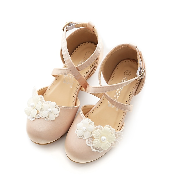 Girls' Heels Flower Girl Shoes Satin Dress Shoes Little Kids(4-7ys) Big Kids(7years +) Party & Evening Walking Shoes Bowknot Champagne Ivory Spring Summer