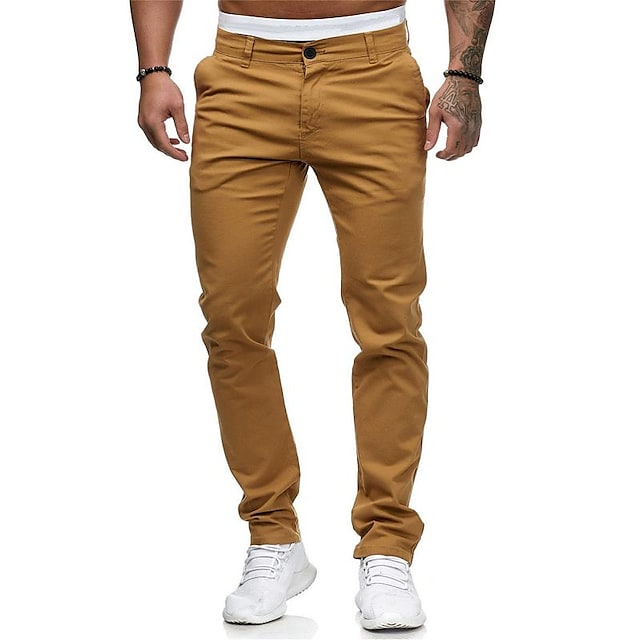 Hombre Básico Chic de Calle Chinos Pantalones Un Color Longitud total Blanco Negro Rojo Caqui Gris