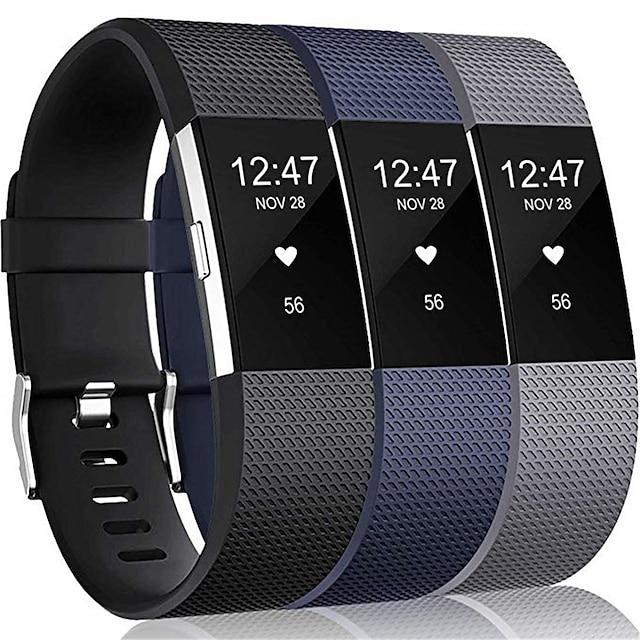 สมาร์ทวอทช์แบนด์ สำหรับ Fitbit 3 ชิ้น สายยางสำหรับเส้นกีฬา ยางทำจากซิลิคอน เปลี่ยน สายห้อยข้อมือ สำหรับ Fitbit Charge 2 L S