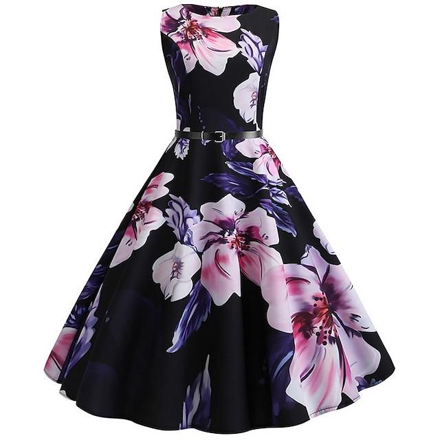 naisten vintage a line mekko polvipituinen mekko musta hihaton kukkakuvio kevät kesä pyöreä kaula kuuma juhla loma 2021 s m l xxl