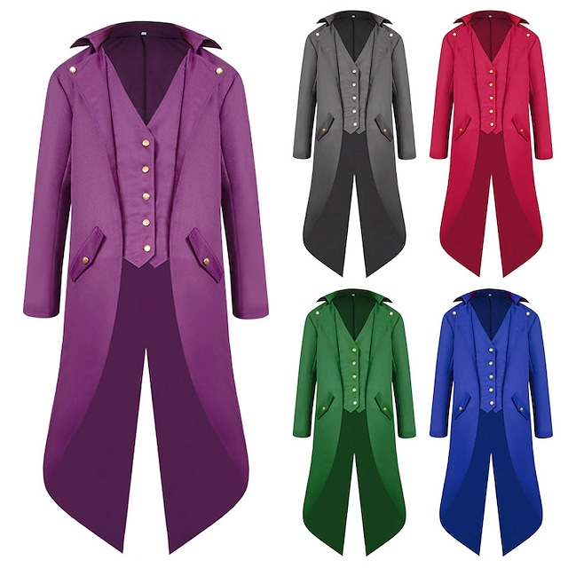 Plague Doctor Gothic Vintage Punk & Gothic Medieval Steampunk Tuxedo Tailcoat Frock Coat Men's Costume Purple / Red / Blue Vintage Cosplay Long Sleeve