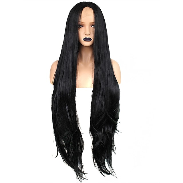 Synthetic Lace Front Wig Weave Wavy Kardashian Free Part Lace Front Wig Very Long Black#1B Synthetic Hair 32 inch Women's Odor Free Soft Adjustable Black / Heat Resistant / Heat Resistant