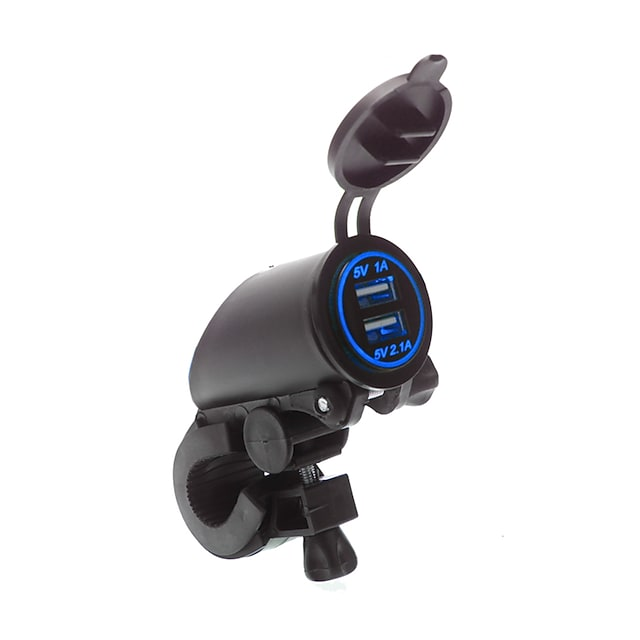 5V 3.1A Waterproof Motorcycle Dual USB Charger Handlebar mounting clamp for iPhone Samsung and Xiaomi mobile phones