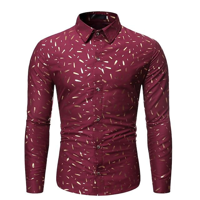 Per uomo Camicia Pop art Tinta unita Fantasia floreale Manica lunga Feste Top Rock Esagerato Nero Rosso Blu marino