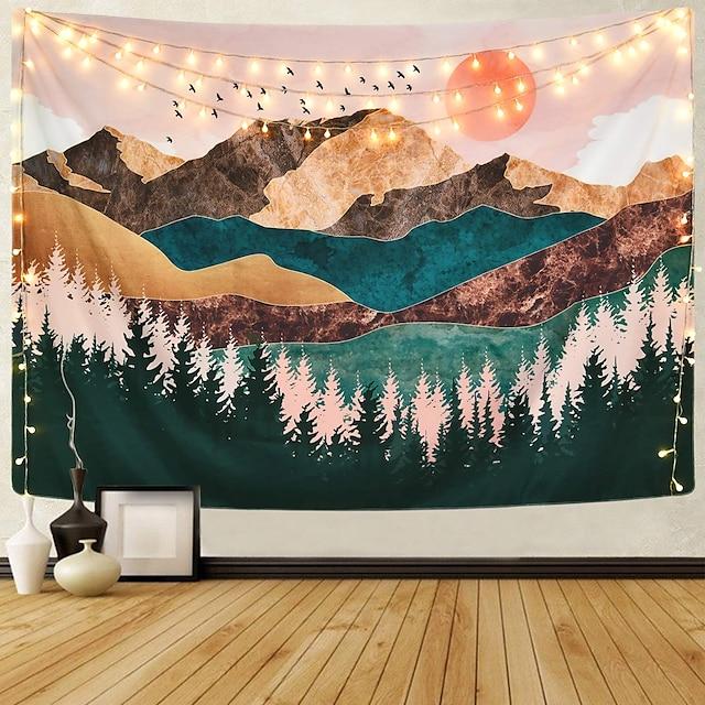 tapisserie murale art décor couverture rideau pique-nique nappe suspendu maison chambre salon dortoir décoration montagne forêt arbre coucher de soleil lever du soleil nature paysage
