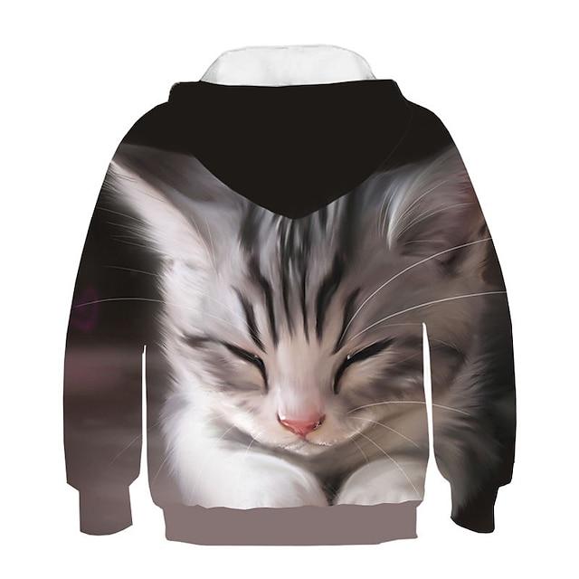 Kids Girls' Hoodie & Sweatshirt Long Sleeve Cat Print 3D Animal Print Rainbow Children Tops Active Streetwear