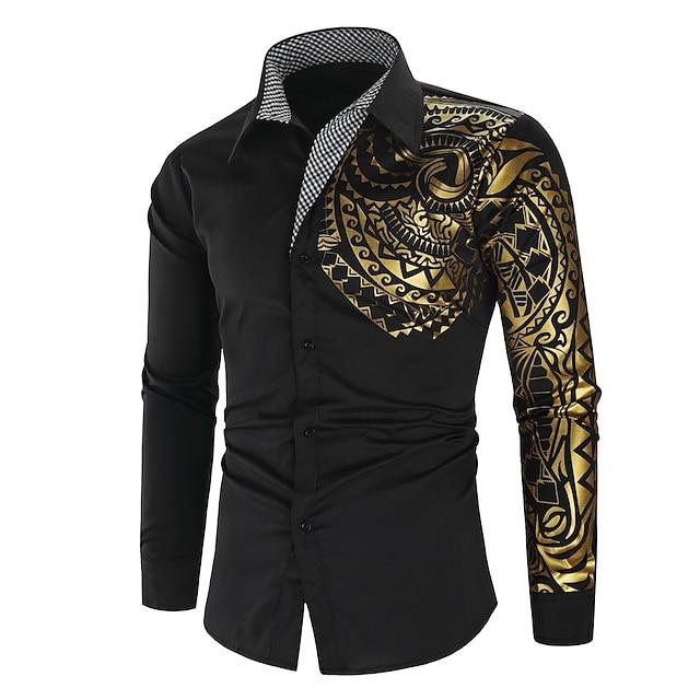 남성용 셔츠 피그먼트 프린트 그래픽 프린트 긴 소매 거리 탑스 사치 패션 스트리트 쉬크 펑크 & 고딕 화이트 블랙 루비