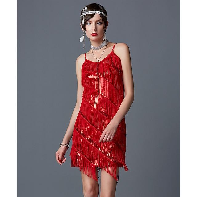 Veliki Gatsby Čarlston Urlajuće 20-te 1920-ih Vruće dvadesete haljina za odmor Ljeto Haljina s flapperom Koktel haljina Halloween kostime Prom haljine Žene Šljokice Rese Kostim Zlatan / Crvena