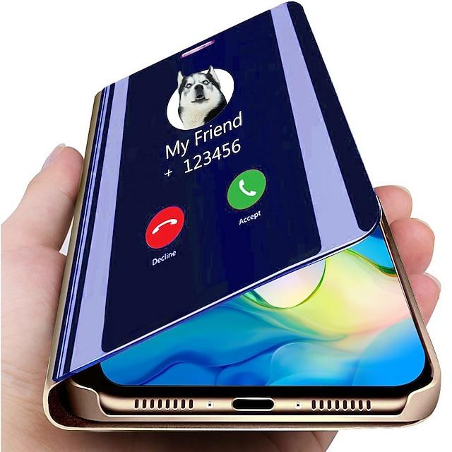 telefono Custodia Per Samsung Galaxy Integrale Custodia in pelle Custodia flip Galaxy Note 10 Note 10 + Con supporto A specchio Con chiusura magnetica Tinta unita pelle sintetica PC