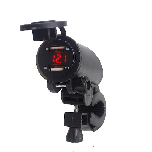 5V 3.1A Motorcycle Dual USB Charger Handlebar mounting clamp with LED digital display for iPhone Samsung and Xiaomi mobile phones