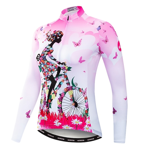 21Grams Botanico floreale Per donna Manica lunga Maglia da ciclismo - Blu Giallo Rosa Bicicletta Maglietta / Maglia Superiore Resistente ai raggi UV Asciugatura rapida Traspirazione umidità Gli sport