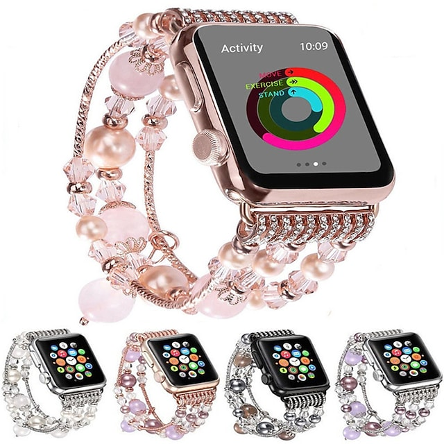 Fashion Watchband For Apple Watch Band 44mm/40mm/38mm/42mm Bling Women Agate Beads Strap Bracelet Band For Apple Watch Series 6 SE 5 4 3 2 1  For Girls