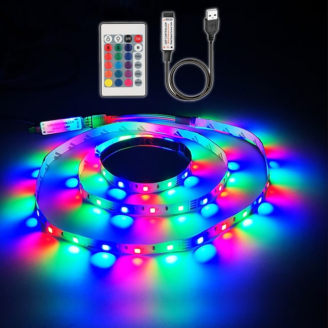 1M LED Light Strips Flexible Tiktok Lights USB Powered 5V SMD 60 X 2835 8mm Color with 24 Keys IR Remote Control for TV Background Lighting PC Notebook Home Decoration