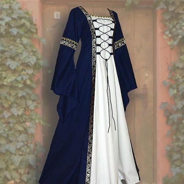 Outlander Cosplay Retro Medieval rochie de vacanță Costum Cosplay Rochie de bal Pentru femei Costum Negru / Roșu Vin / Albastru Epocă Cosplay Petrecere Halloween Festival