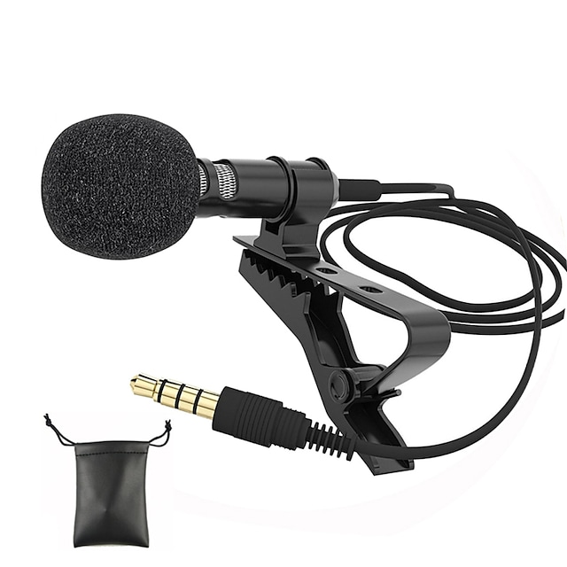Audio Microphones 3.5mm Jack Plug Clip-on Lavalier Mic Stereo Mini Wired External Microphone for Mobile Phone