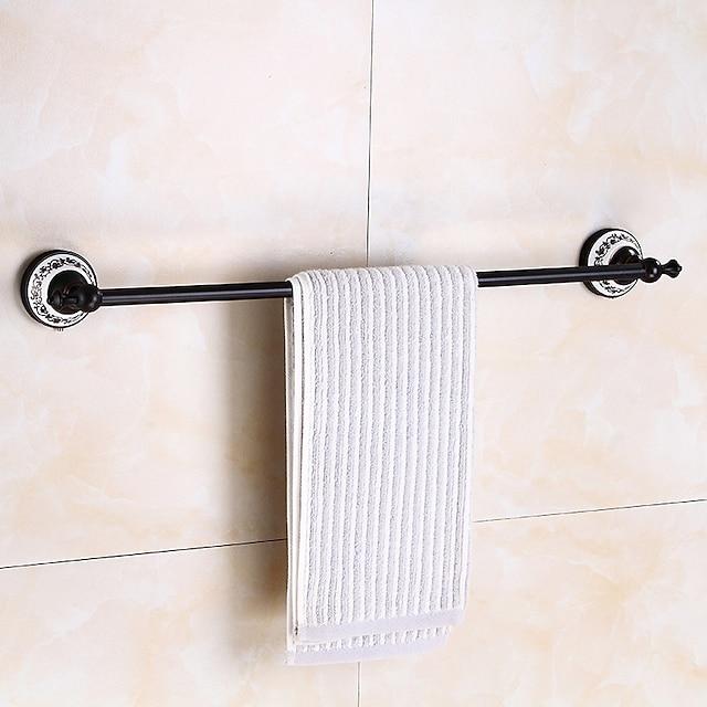 portasciugamani multifunzione in ottone anticato e stampa in ceramica mensola da bagno asta singola a parete galvanica