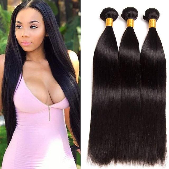 Hajszövés Brazil haj Egyenes Emberi hajhosszabbítás Remy emberi haj 100% Remy Hair Weave köteg Az emberi haj sző Természetes szín Élet / 8A