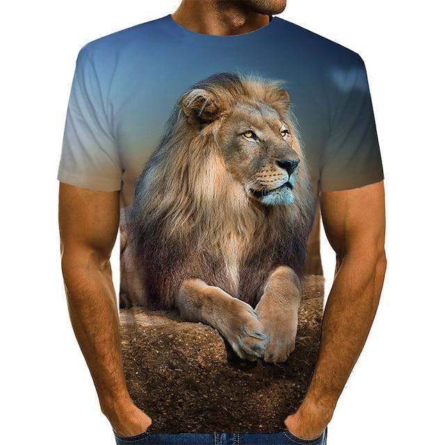 Men's Tee T shirt Shirt 3D Print Graphic 3D Lion Animal Print Short Sleeve Daily Tops Vintage Rock Round Neck Yellow Black Brown / Summer