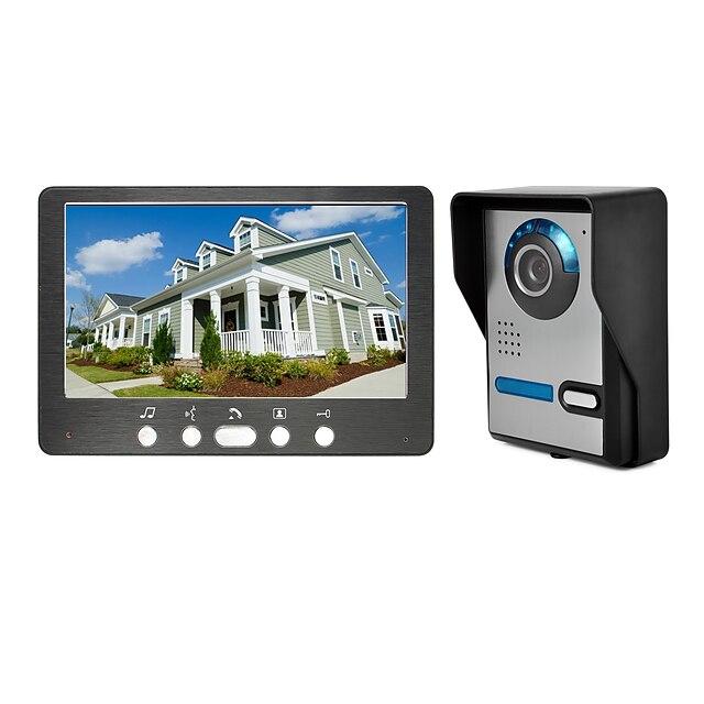 Wired 7 inch Hands-free 800*480 Pixel One to One Video Doorphone Doorbell Intercom 1/4 Inch Color CMOS Sensor Outdoor Unit Wall Mounted