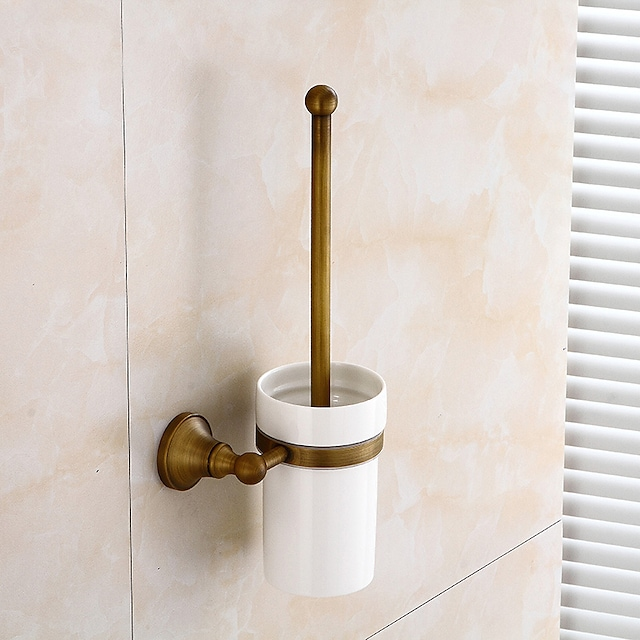 Toilet Brush Holder Creative Antique Traditional Brass and Ceramic Bathroom Wall Mounted 1pc