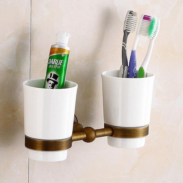 porta-escova de dentes criativo em latão antigo e material cerâmico montado na parede do banheiro com 2 xícaras 1 unidade