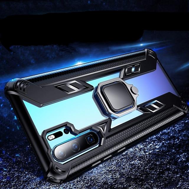 電話 ケース 用途 Huawei バックカバー シリコン シリコンケース ファーウェイP30 Pro ファーウェイP30 Lite Huawei Mate20プロ 耐衝撃 スタンド付き バンカーリング クリア 鎧 TPU シリコーン PC
