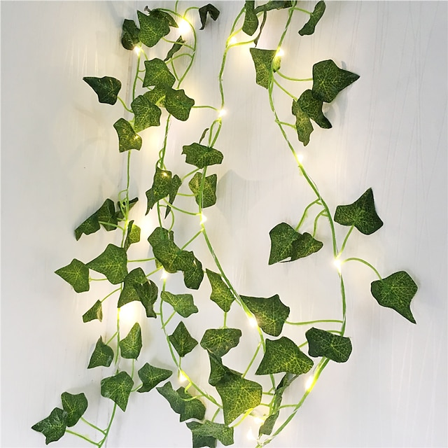 Artificial Plants LED String Light 2M Creeper Green Leaf Home Wedding Outdoor Ivy Vine Decoration Lamp DIY Hanging Garden Patio Yard (without Battery)