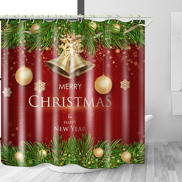 크리스마스 샤워 커튼 및 후크 현대 폴리 에스테르 트렌드 디자인