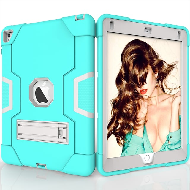 Phone Case For Apple Back Cover iPad Air iPad 4/3/2 iPad (2018) iPad Air 2 iPad (2017) iPad Pro 9.7'' Shockproof with Stand Solid Colored TPU PC