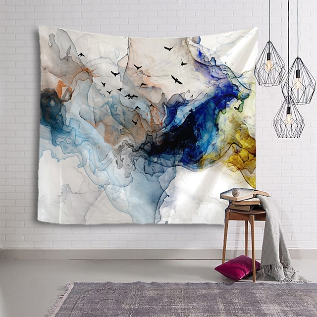 çin mürekkep boyama tarzı duvar halısı sanat dekoru battaniye perde asılı ev yatak odası oturma odası dekorasyonu soyut kuş hayvan