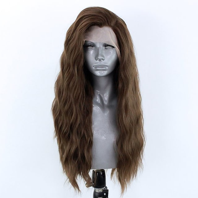 Synthetic Lace Front Wig Wavy Side Part Lace Front Wig Long Chestnut Brown Synthetic Hair 18-26 inch Women's Adjustable Heat Resistant Party Brown
