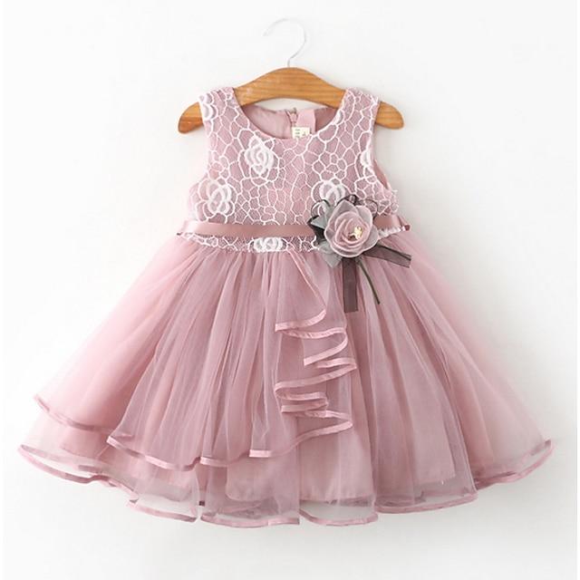 아동 작은 여아 드레스 꽃 기하학 꽃장식 파티 투투 드레스 캐쥬얼 화이트 블러슁 핑크 클로버 민소매 패션 단 드레스