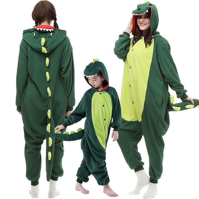 Pentru copii Adulți Pijamale Kigurumi Dinozaur Monștrii Pijama Întreagă Microfibră de Poliester Rosu / Verde Închis Cosplay Pentru Bărbați și femei Haine de dormit pentru animale Desen animat