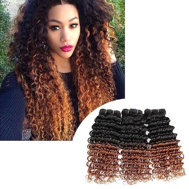 3 csomag Hajszövés Brazil haj Mély hullám Emberi hajhosszabbítás Remy emberi haj 100% Remy Hair Weave köteg Az emberi haj sző Emberi haj tincsek 8-24 hüvelyk Természetes szín Természet fekete / 10A