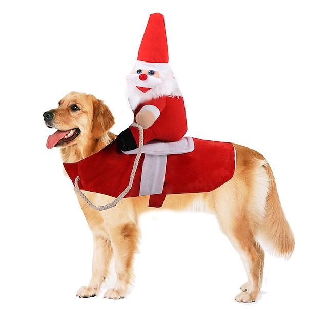 애완견 용품 코스츔 크리스마스 산타 클로스 코스프레 이상한 크리스마스 파티 겨울 강아지 의류 강아지 옷 개 의상 레드 코스츔 어린이 작은 개 소녀와 소년 개 폴리스터 S M L XL / 큰 개