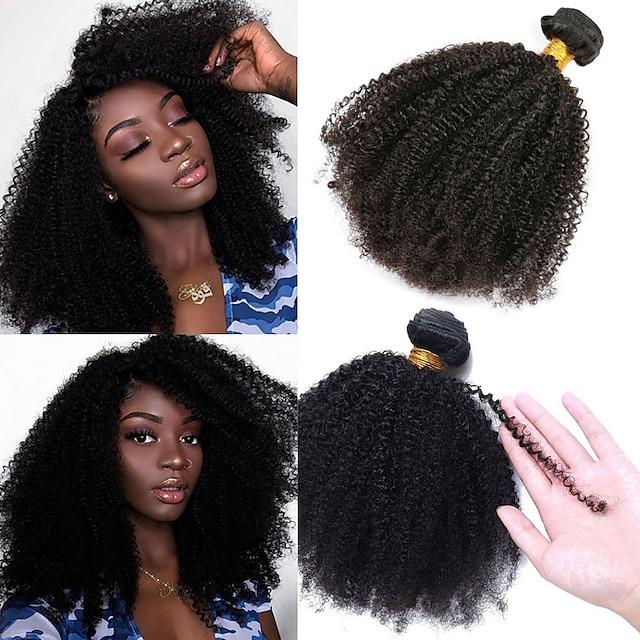 1 paketti Hiuskudokset Brasilialainen Pervo kihara Ihmisen hiustenpidennykset 100 g Hiukset kutoo 8-26 inch Luonnollinen Elämä / 10A