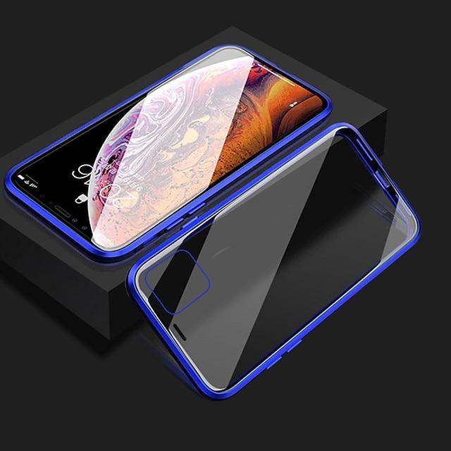 전화 케이스 제품 Apple 전체 바디 케이스 자기 흡착 케이스 iPhone 12 Pro Max 11 SE 2020 X XR XS Max 8 7 6 충격방지 투명 양면 투명 솔리드 갑옷 강화 유리 메탈