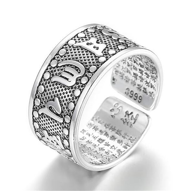 열기 반지 클래식 실버 구리 은 도금 귀한 단순한 패션 1 개 조절 가능 / 남성용 / 조정 가능한 반지