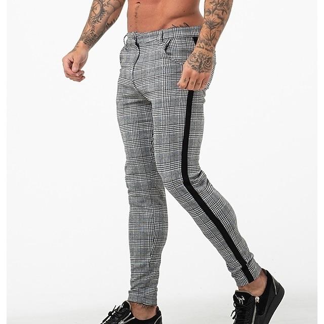 Homme à la mode Pantalons basique Chic et moderne Grande occasion Chino Coton Mince Formel Usage quotidien Décontracté / Quotidien Pantalon Ecossais à Carreaux Toute la longueur Style formel Blanche