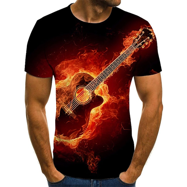 Men's T shirt Graphic Flame Plus Size Pleated Print Short Sleeve Daily Tops Streetwear Exaggerated Red