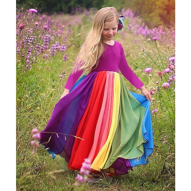 아동 토들러 작은 여아 드레스 무지개 컬러 블럭 컬러풀 튤 드레스 집 밖의 패치 워크 퓨샤 라이트 블루 면 맥시 긴 소매 활동적 보호 드레스 가을 겨울 보통