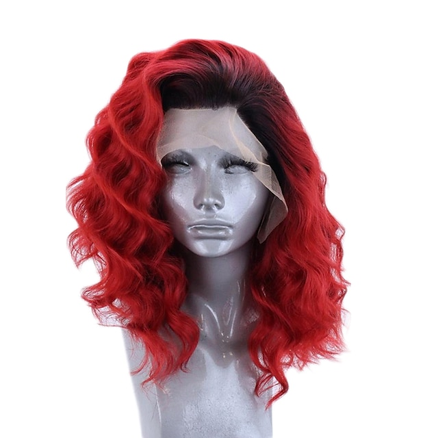 Synthetic Lace Front Wig Wavy Side Part Lace Front Wig Short Black / Red Synthetic Hair 12-16 inch Women's Adjustable Heat Resistant Party Red Ombre