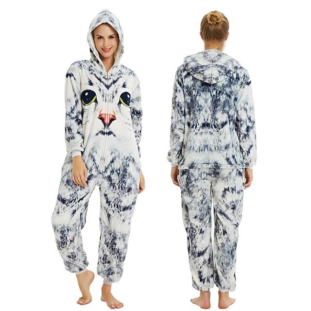 Adolescente Adulto Pijamas Kigurumi Gato Pijamas de una pieza Franela de Algodón Blanco + gris Cosplay por Hombre y mujer Ropa de Noche de los Animales Dibujos animados Festival / Vacaciones Disfraces