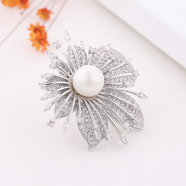 Women's AAA Cubic Zirconia Brooches European Pearl Brooch Jewelry Silver For Party Festival