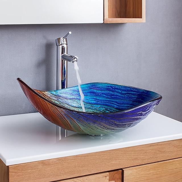 abstraktní umění duhové přechody ve tvaru kapky tvrzeného skla s umyvadlem s vodopádovým faucetem