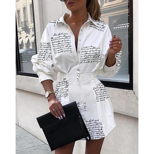 Dames A lijn jurk Wit Lange mouw Brief Overhemdkraag Elegant S M L XL / Mini