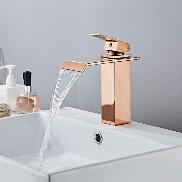 pirinç banyo lavabo musluğu, şelale gül altın centeret tek kulplu bir delikli banyo muslukları sıcak ve soğuk su