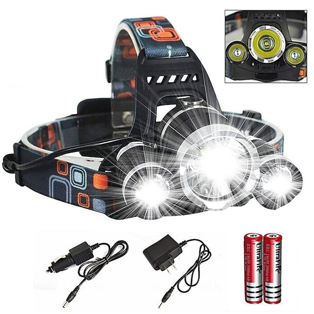 Kafa Lambaları Bisiklet Farı Su Geçirmez Zoomable 6000 lm LED Emitörler 4.0 Işıtma Modu Şarj Aleti ile Piller ve Şarj Aleti ile Su Geçirmez Zoomable Şarj Edilebilir Süper Hafif Kamp / Yürüy / US Priz