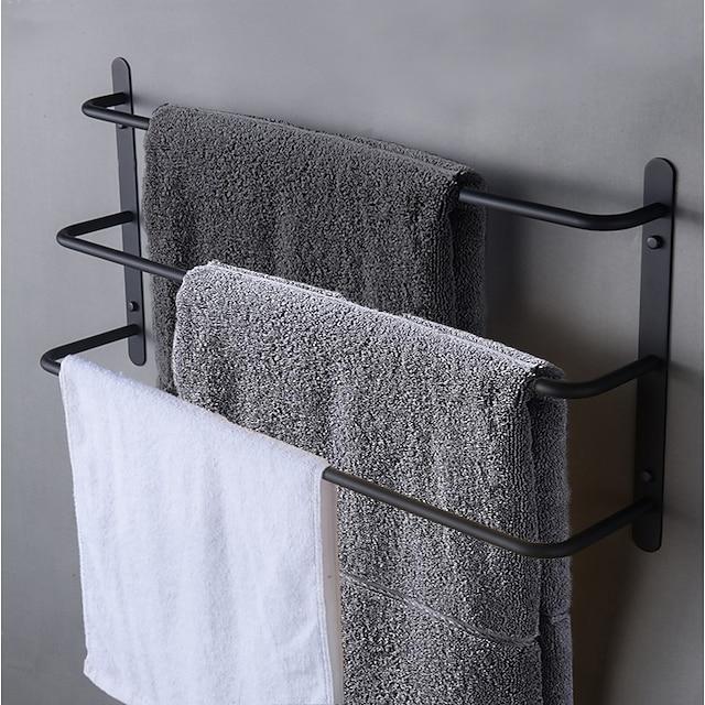 étagère de salle de bain multicouche contemporain porte-serviettes de bain en acier inoxydable porte-serviettes 3 couches noir mat mural